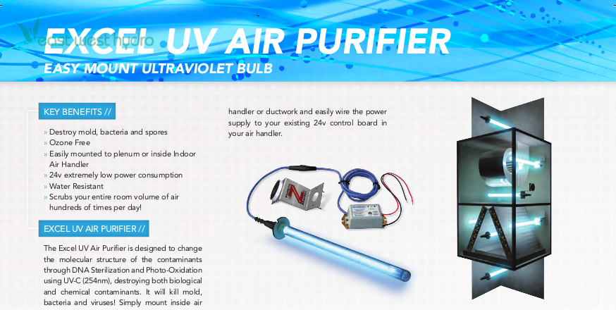 Excel Air Uv Air Purification System Exceluvair