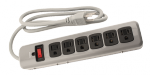 Power All - Indoor Metal Surge Strip 6 Outlet 125 Volt 4 ft Cord (780055)